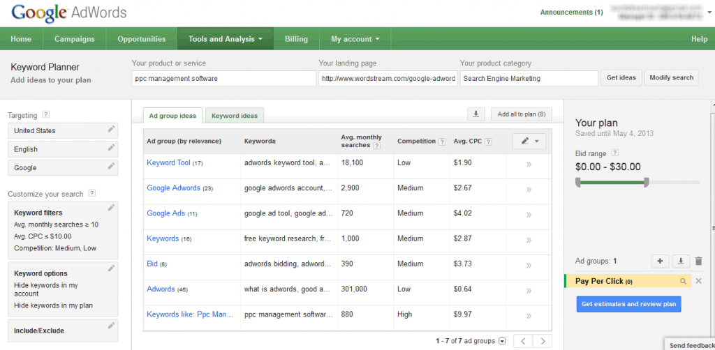 Google Keyword Suggestion Tool