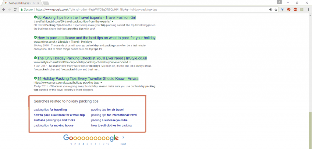 LSI related keyword search in Google to conduct seo content audit checklist