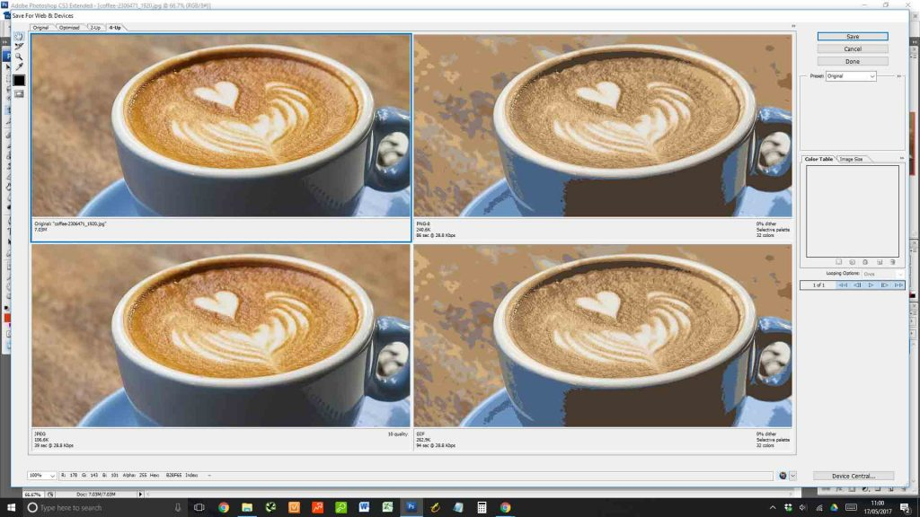 optimising coffee photo in photoshop with presets
