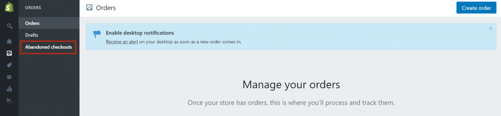 abandoned checkout in Shopify