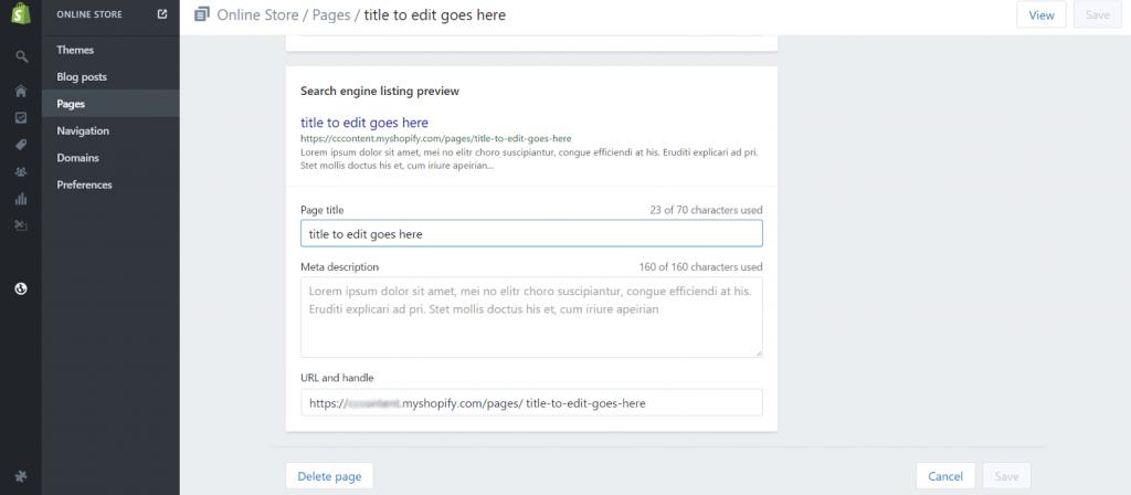 SEO editor in shopify