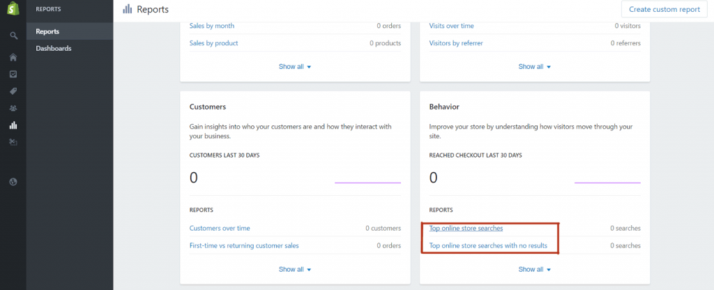 optimise shopify: top product search section