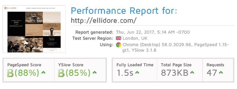 ellidore after - Website Speed Optimisation - Case Study
